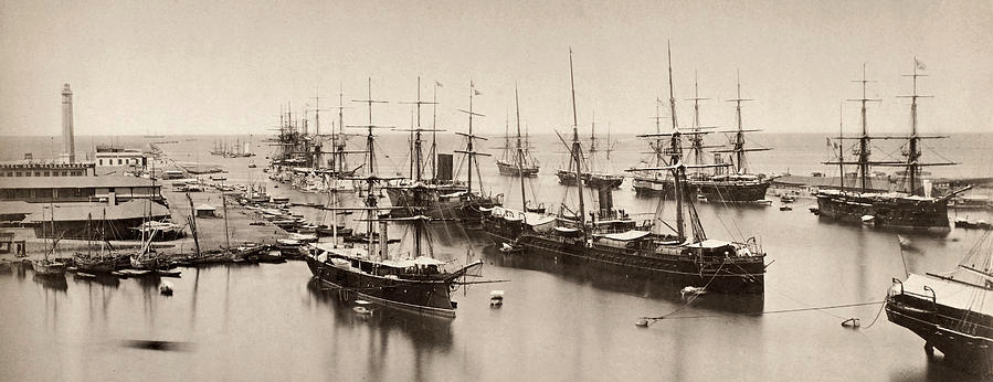 Anglo-French fleet at Port Said, Egypt. Photographed 1882 by James Granger